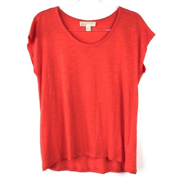 780d69c7502e87 Michael Kors Orange Textured High Low T-Shirt. M_5c745f566a0bb7201b103911